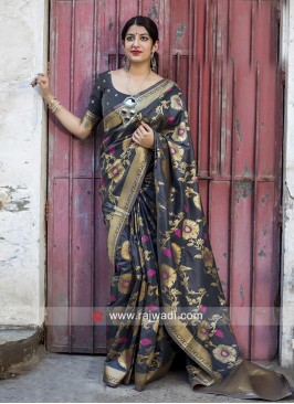 Dark Grey Banarasi Silk Saree