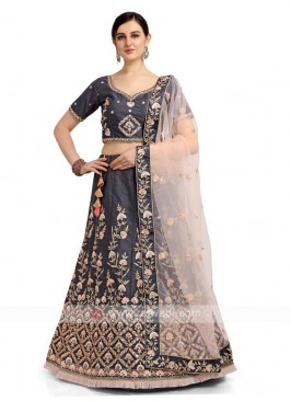 Dark Grey Banglori Silk Lehenga Choli