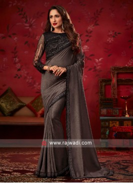 Dark Grey Border Work Saree