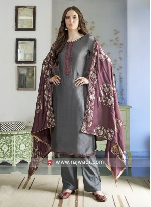 Dark Grey Casual Salwar Kameez