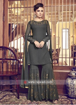 Dark Grey Chiffon Gharara Suit with Dupatta