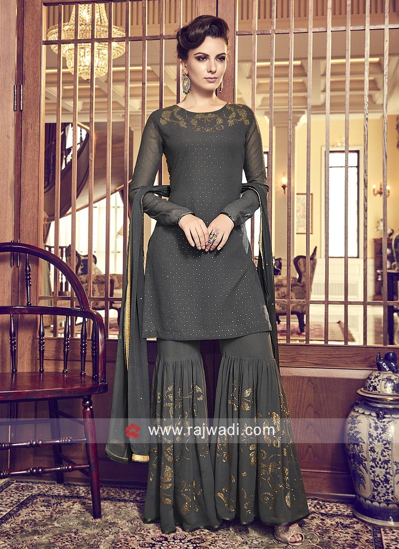 Dark Grey Chiffon Eid Gharara Suit with Dupatta