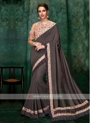 dark grey color art silk saree