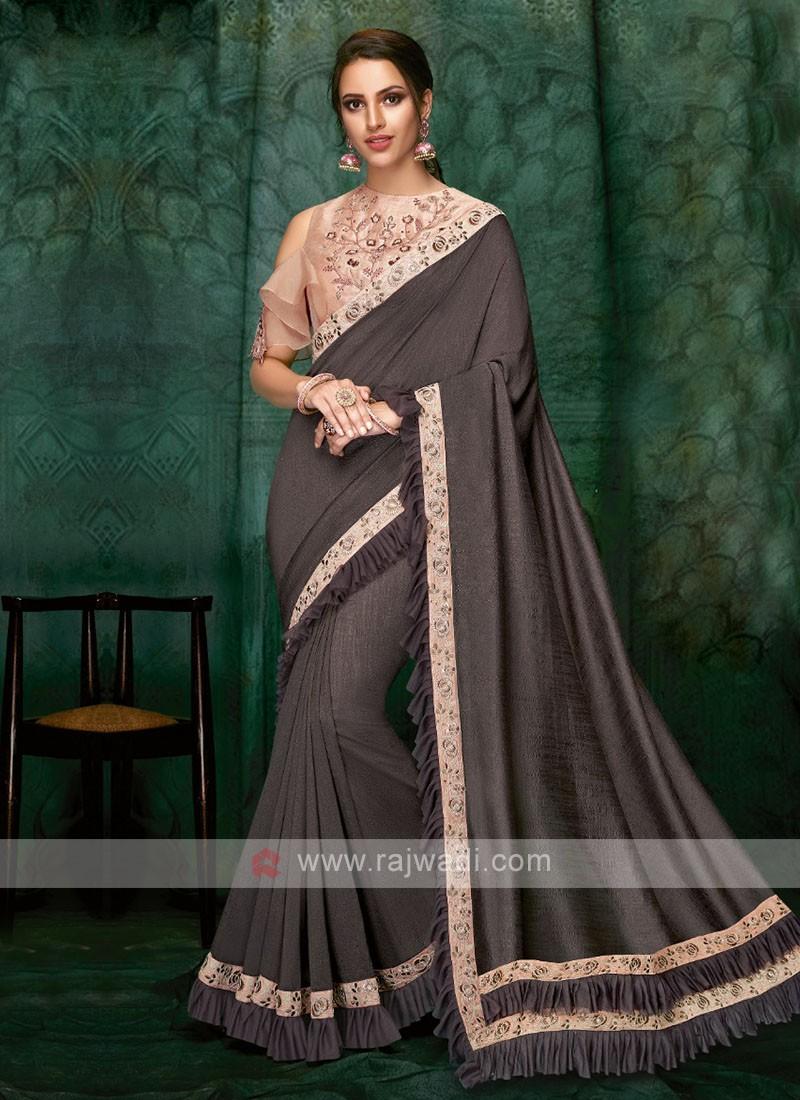 dark grey color art silk saree