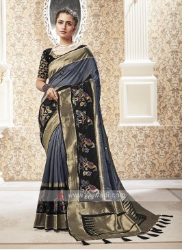 Dark Grey Color Banarasi Silk Saree