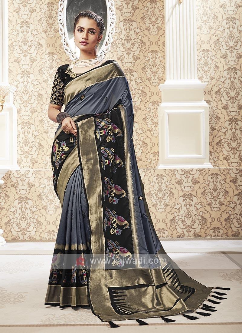 Dark Grey Color Banarasi Silk Saree