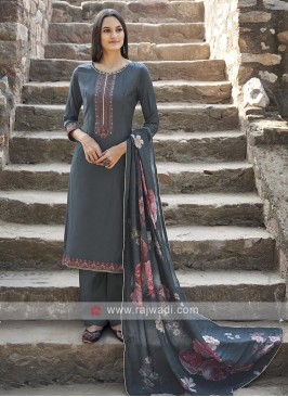 Dark Grey Color Embroidery Suit