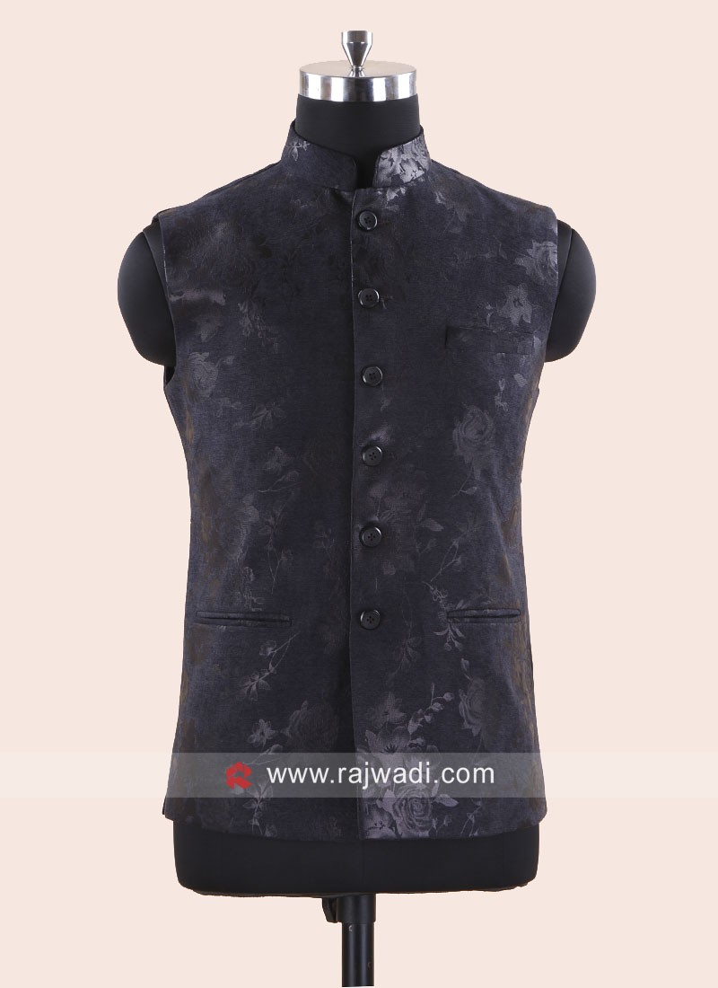 Dark Grey Color Koti With Fancy Buttons