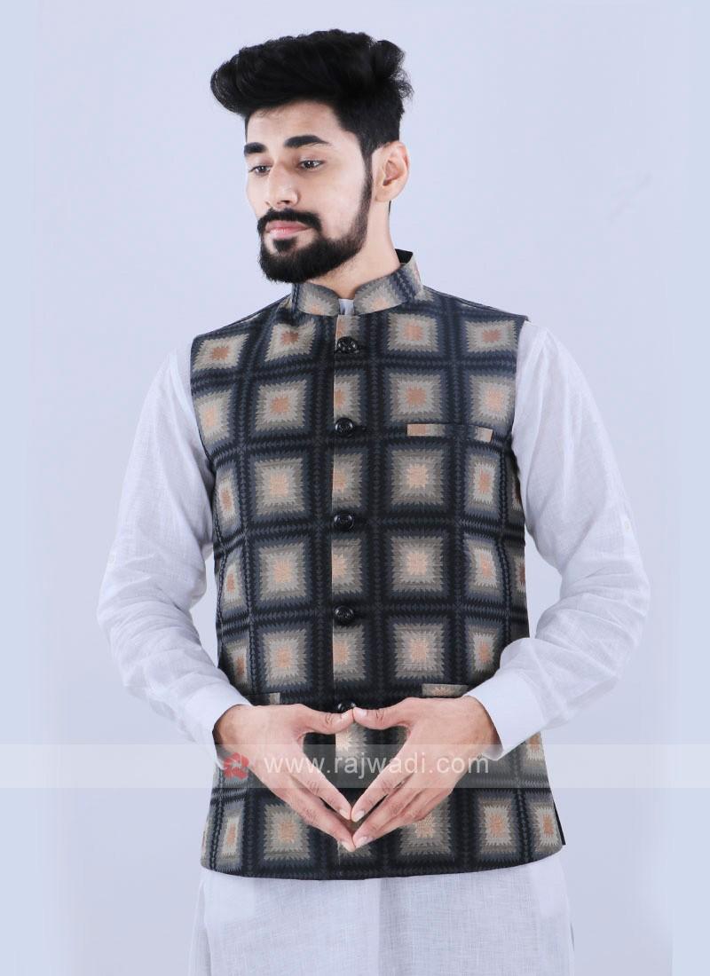 Dark Grey Color Nehru Jacket