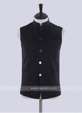 Dark grey color solid nehru jacket