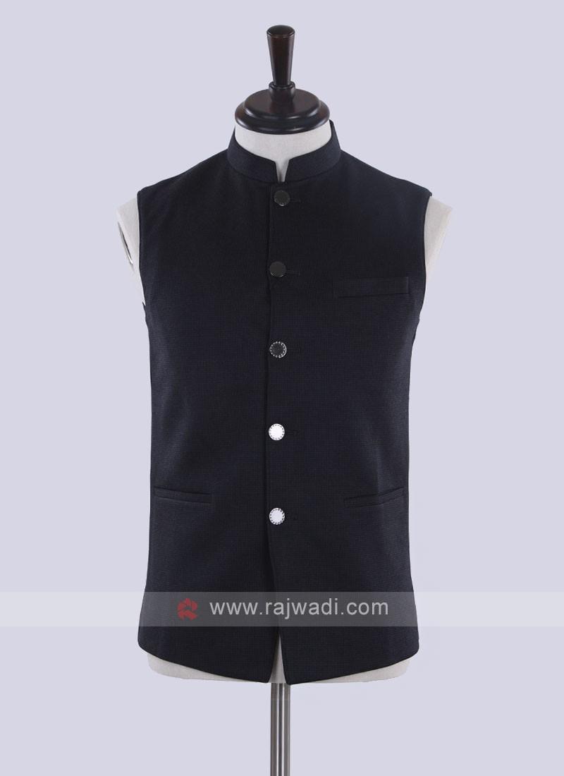 Dark grey color solid nehru jacket