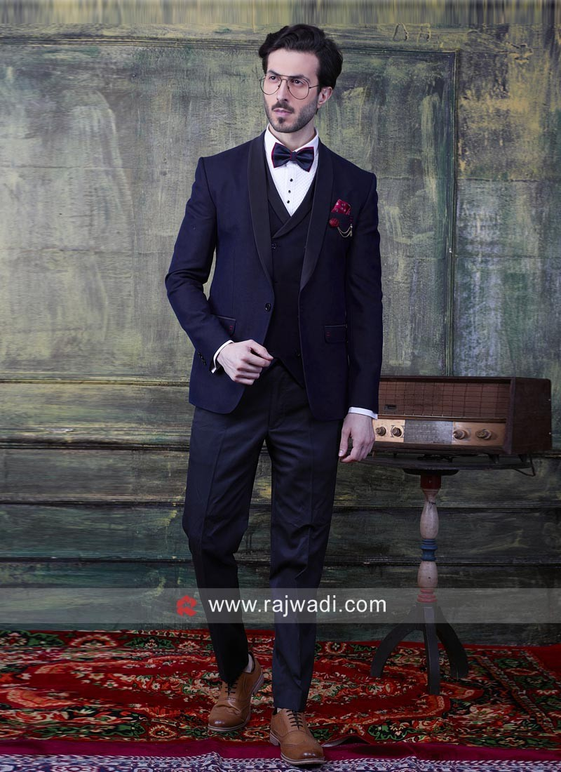 Charming Navy Suit For Party