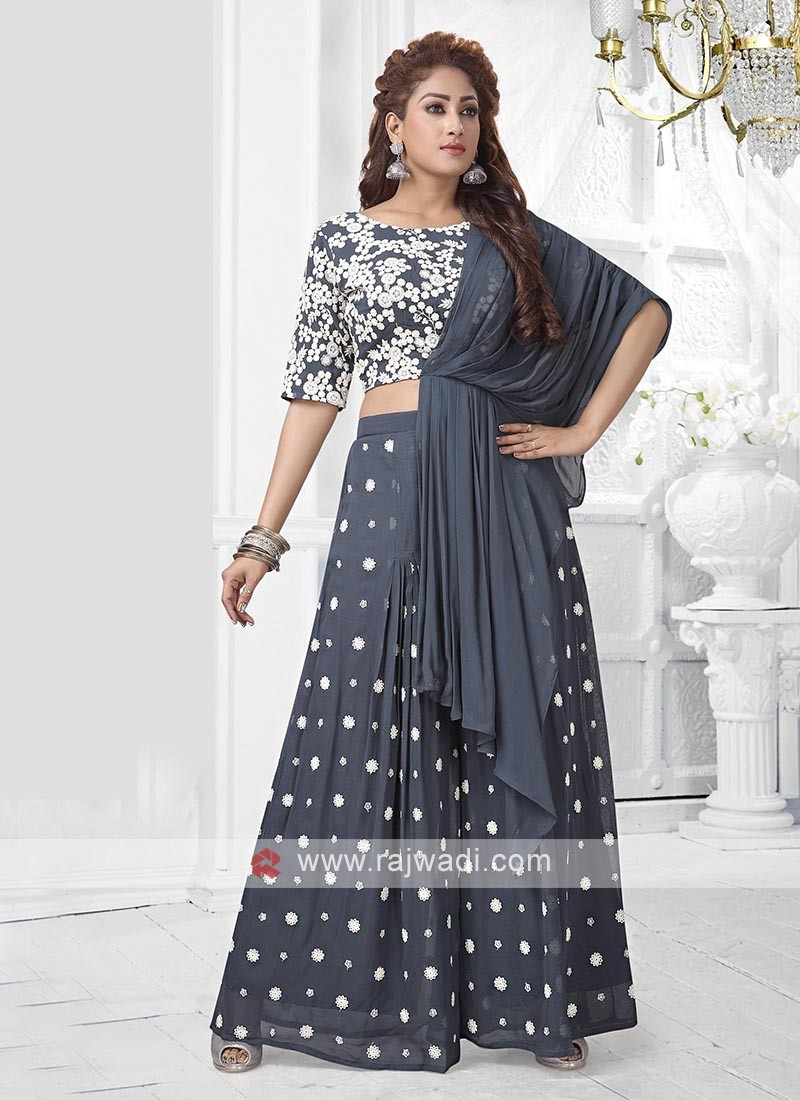 Dark Grey Colour Palazzo Suit With Attached Dupatta