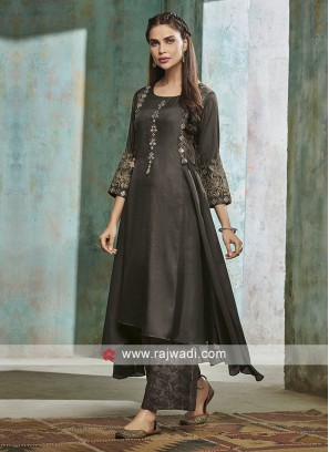 Dark Grey Cotton Silk Palazzo Suit