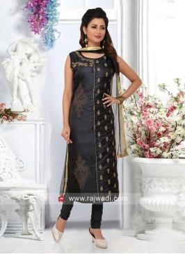 Dark Grey Cotton Silk Salwar Suit