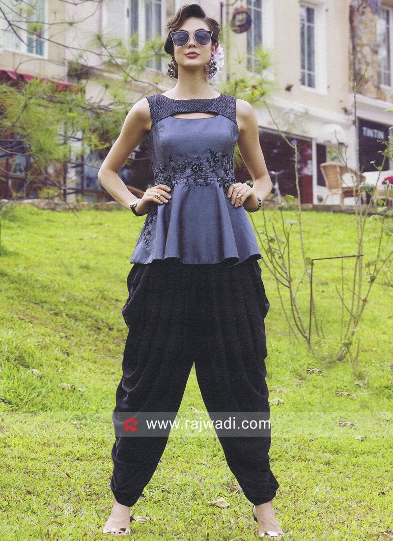 Dark Grey Crop Top with Black Dhoti Pant