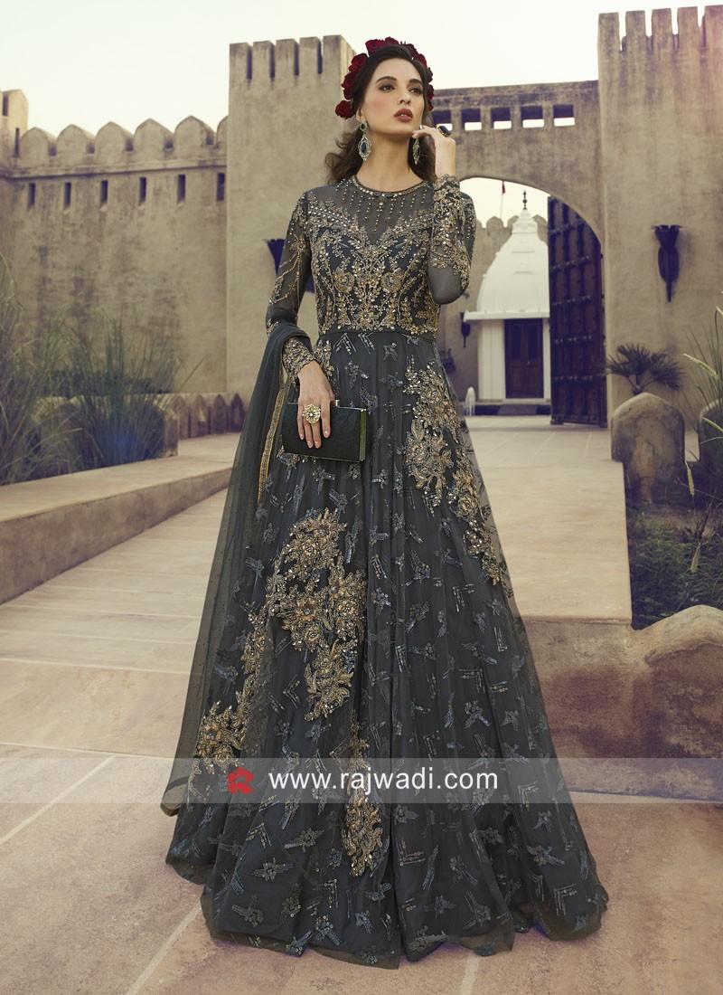 Dark Grey Designer anarkali Salwar Kameez