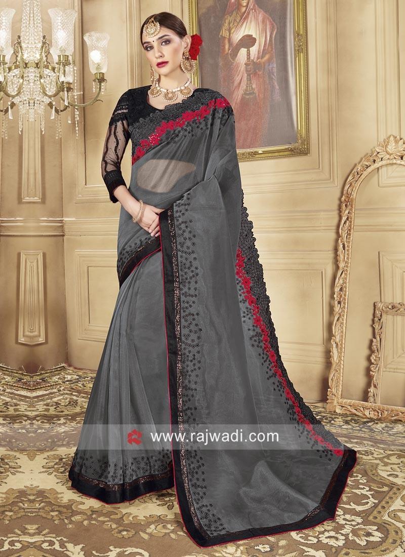 Dark Grey Designer Saree with Blouse