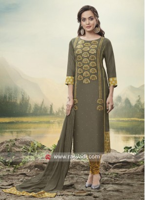 Dark Grey Embroidered Churidar Suit