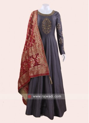 Dark Grey Floor Length Anarkali Suit
