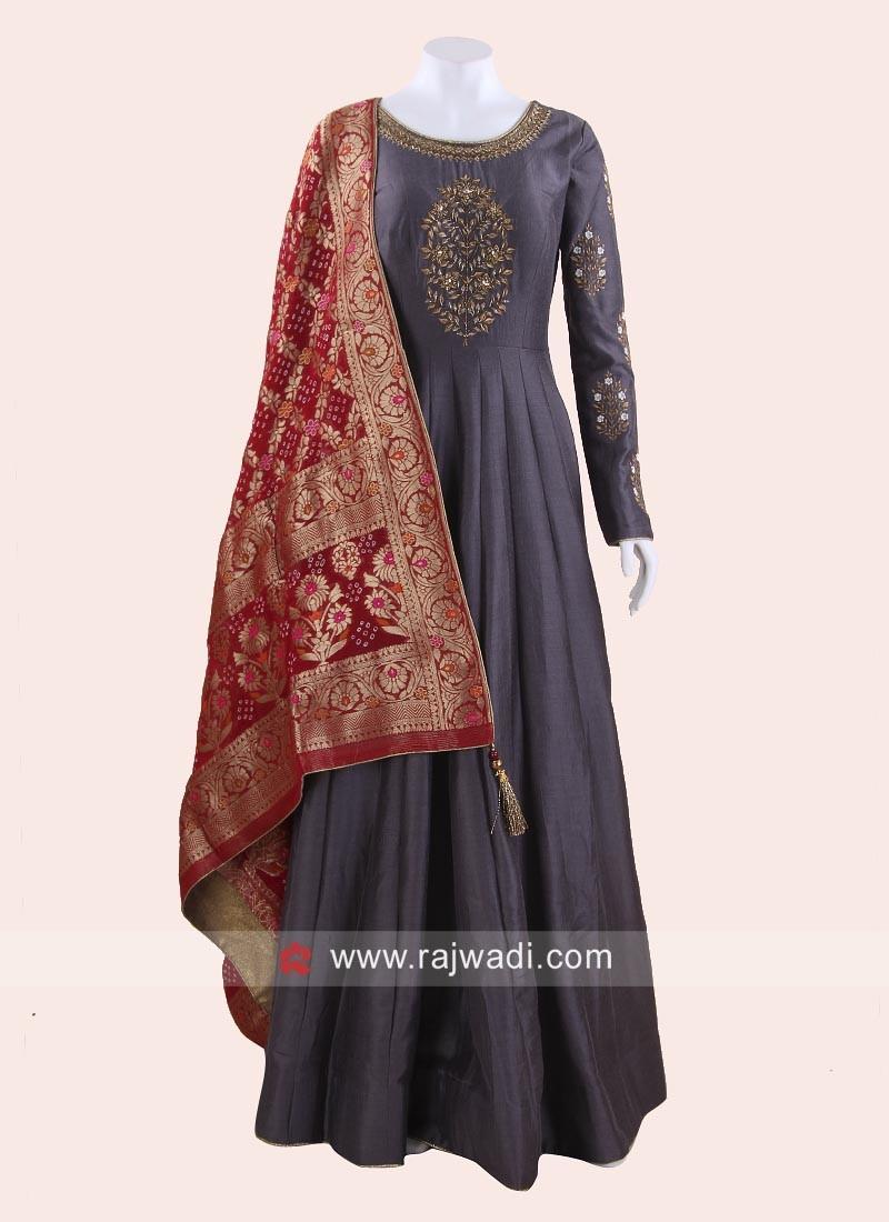 Dark Grey Floor Length Anarkali Suit