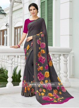 Dark Grey Flower Printed Casual Saree