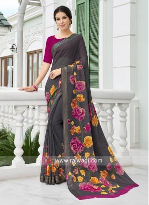 Dark Grey Flower Printed Casual Saree