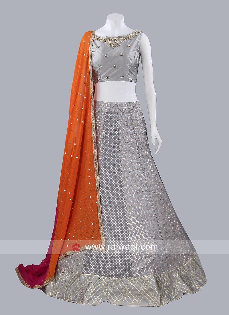 Dark Grey Lehenga Set with Dupatta