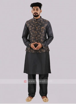 Dark Grey Nehru Jacket With Kurta Pajama