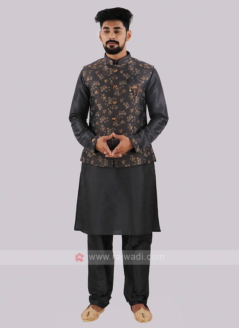 Dark Grey Nehru Jacket With Kurta Pajama