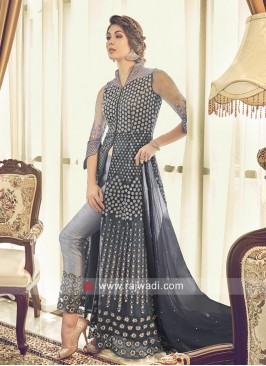Dark Grey Net Salwar Kameez