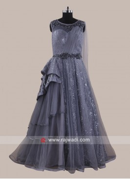Dark grey Net Floor Length Gown