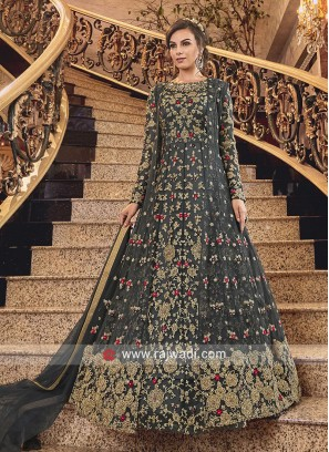Dark Grey Net Heavy Anarkali Suit with Dupatta