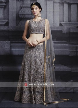 Dark Grey Net Choli Suit