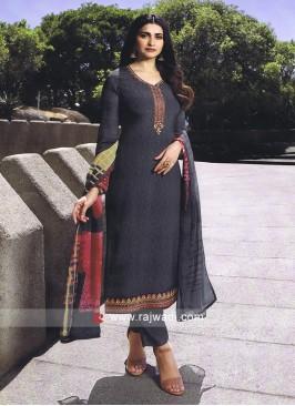 Dark Grey Pant Style Salwar Kameez