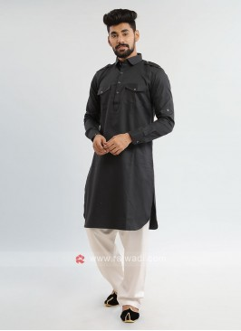 Dark Grey Pathani Suit