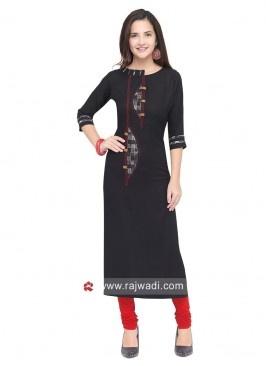Dark Grey Rayon Straight Fit Kurti