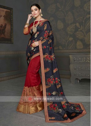 Dark Grey & Red Color Saree