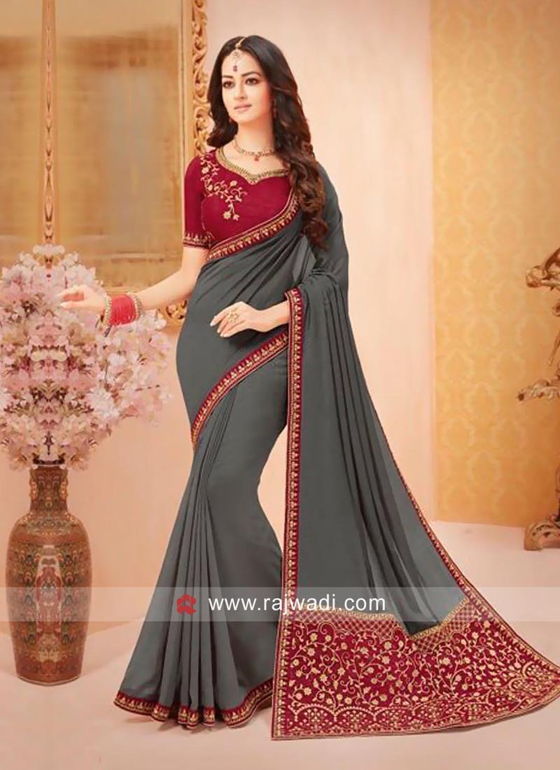 Dark Grey Saree with Contrast Blouse