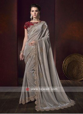 Dark Grey Saree with Red Embroidery Blouse
