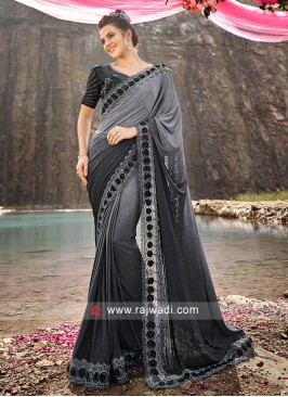 Grey and black Shaded Saree with Embroidery Blouse