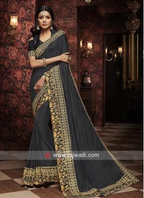 Dark Grey Silk Wedding Saree