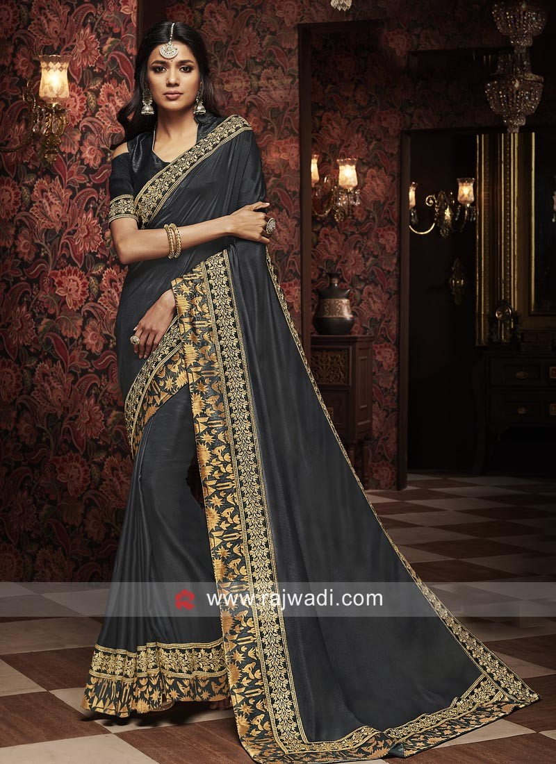 Dark Grey Silk Wedding Saree