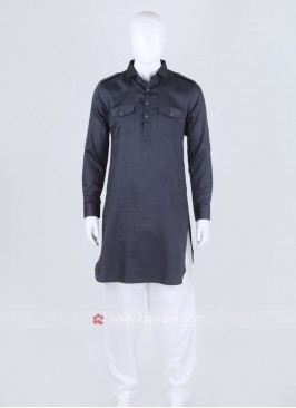 Dark Grey Solid Pathani Suit