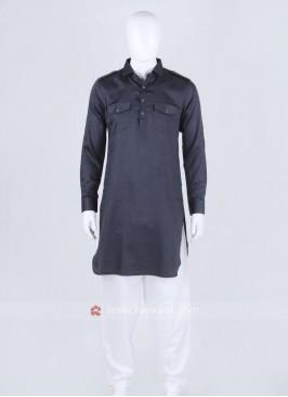 Dark Grey Solid Pathani Suit