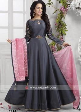 Dark Grey Taffeta Silk Anarkali Suit