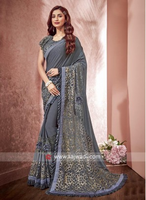 Dark Grey Wedding Saree