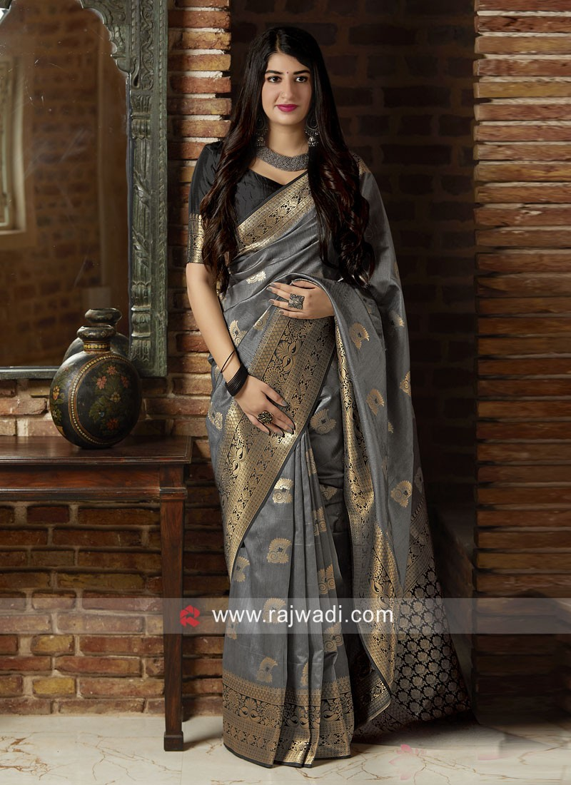 Dark Grey Woven Saree with Black Blouse