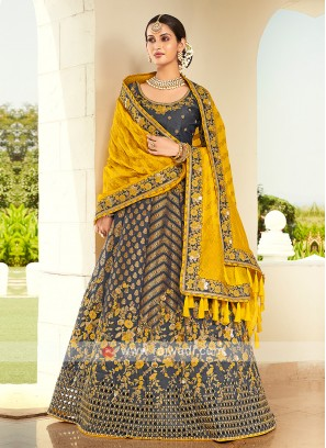 Dark Grey & Yellow Silk Lehenga Choli