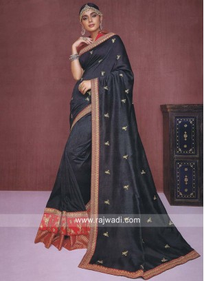 Dark Grey Zari Work Saree